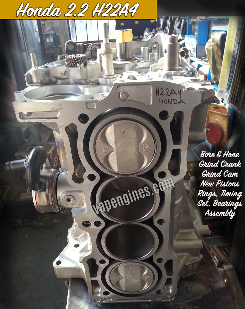 Honda 2.2 H22A4 rebuilt short block engine